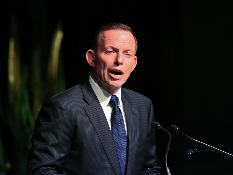 Prime Minister Tony Abbott speaks during the swearing-in ceremony of the new Commissioner of the Australian Border Force Roman Quaedvlieg at Parliament House in Canberra, Wednesday, July 1, 2015. (AAP Image/Lukas Coch) NO ARCHIVING