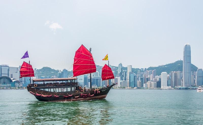 Hong Kong - JULY 27, 2014: Hong Kong Victoria Harbour on July 27 in China, Hong Kong. Aqua Luna is popular tourist attraction in Hong Kong