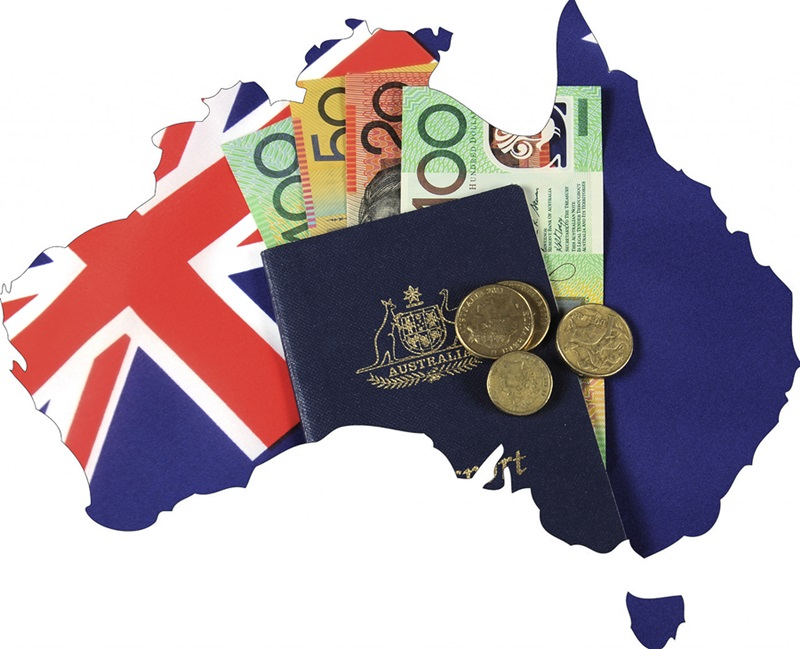 Map of Australia with Australian flag passport and money cash dollar notes and coins.