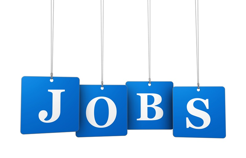 Employment work and job concept with jobs sign on blue tags for website and online business.