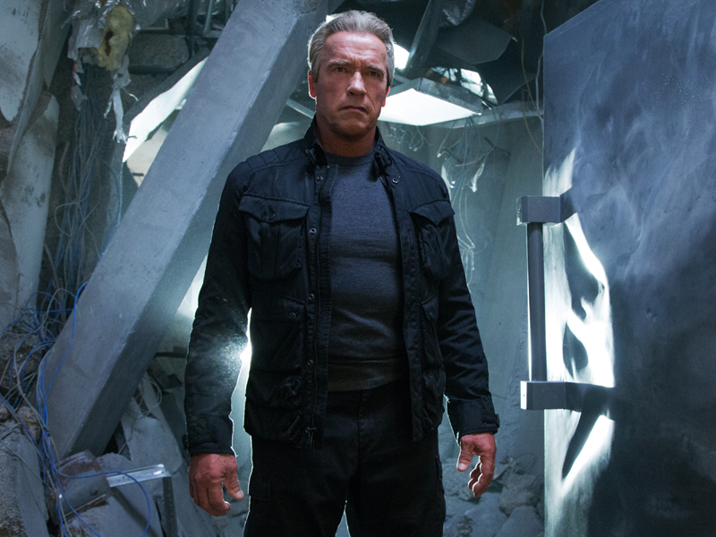 """This photo provided by Paramount Pictures shows, Arnold Schwarzenegger as the Terminator, in """"Terminator Genisys,"""" from Paramount Pictures and Skydance Productions. (Melinda Sue Gordon/Paramount Pictures via AP)"""