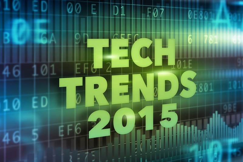 Tech Trends 2015 concept with green text