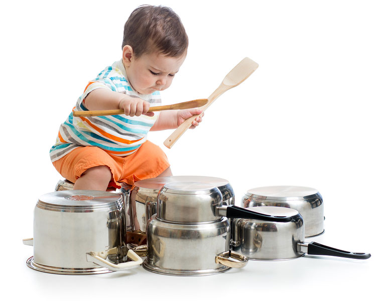 Feedsy kid child playing drums on pots and pans