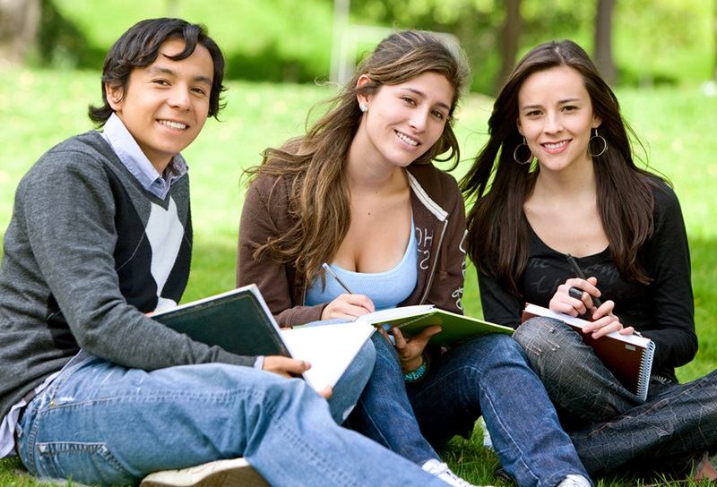 college or university students studying outdoors s